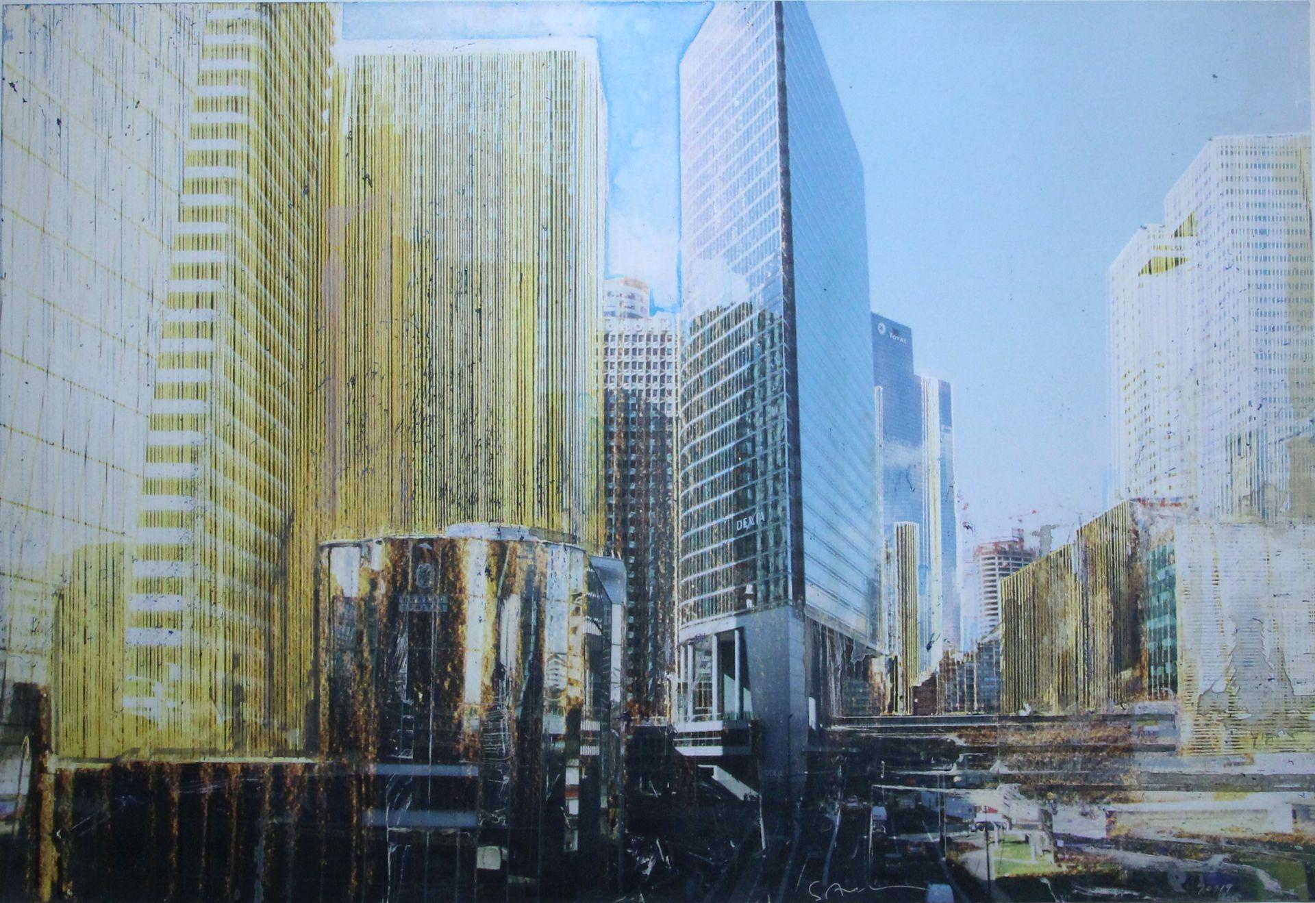 Aquarell/Collage von Salzmann Gottfried
