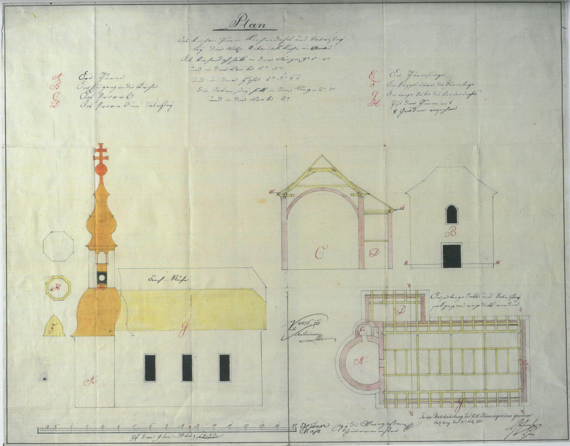 Plan der Vikariatskirche Ebenau von Egyd Meingaßner