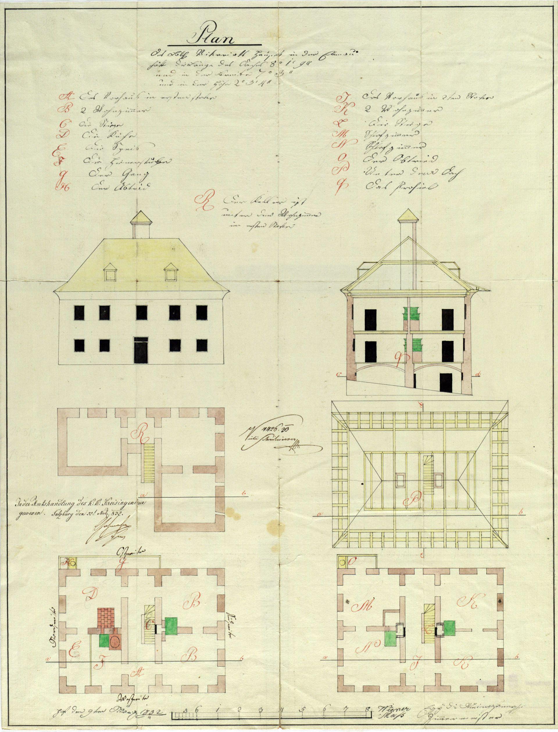 Plan des Vikariatshauses in Ebenau von Egyd Meingaßner