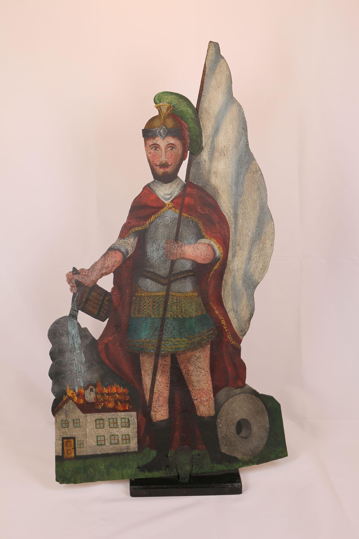 Eisenplatte mit Darstelluing des Hl. Florian von