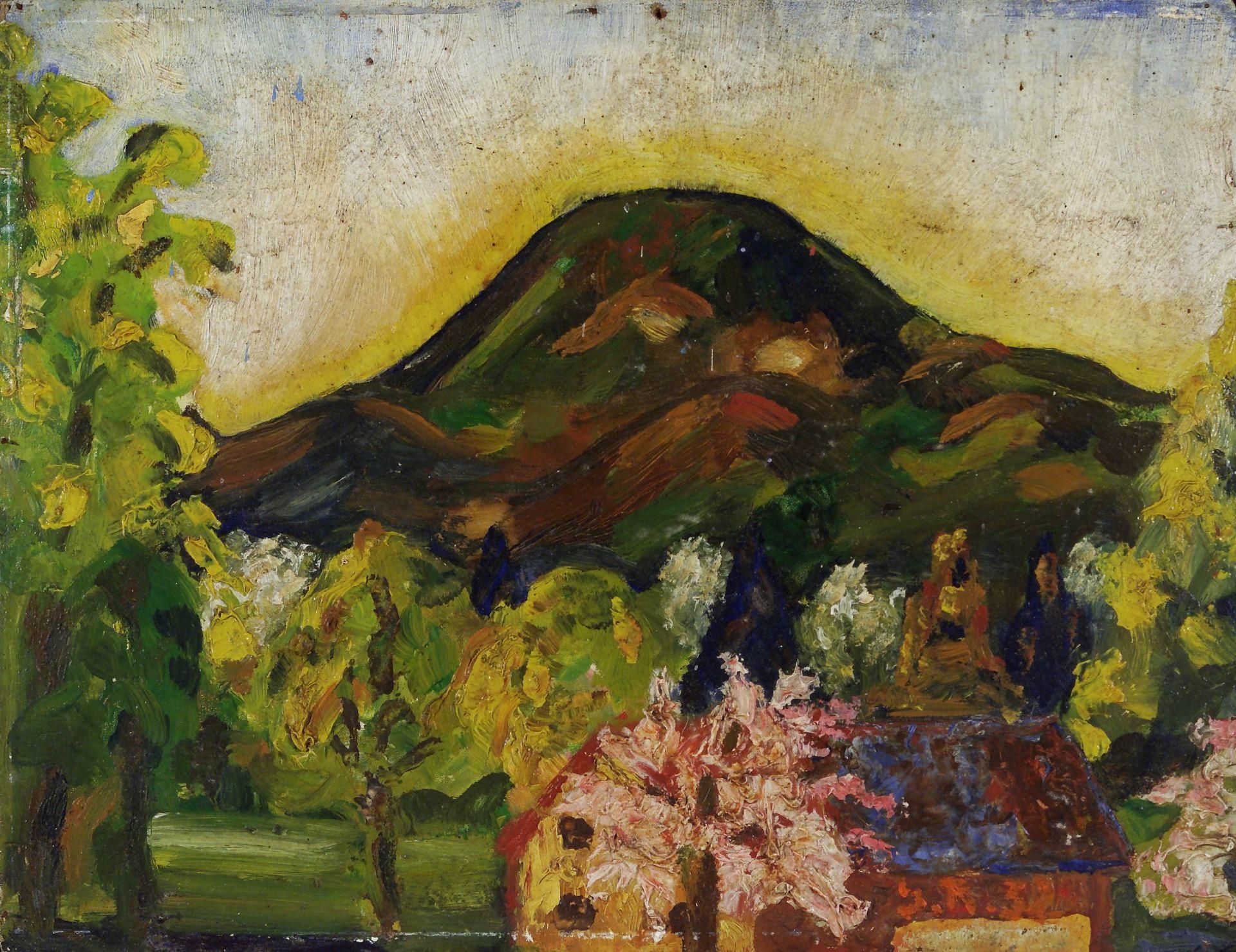 Gemälde: Haus in Leopoldskron mit Gaisberg von Georg Rendl