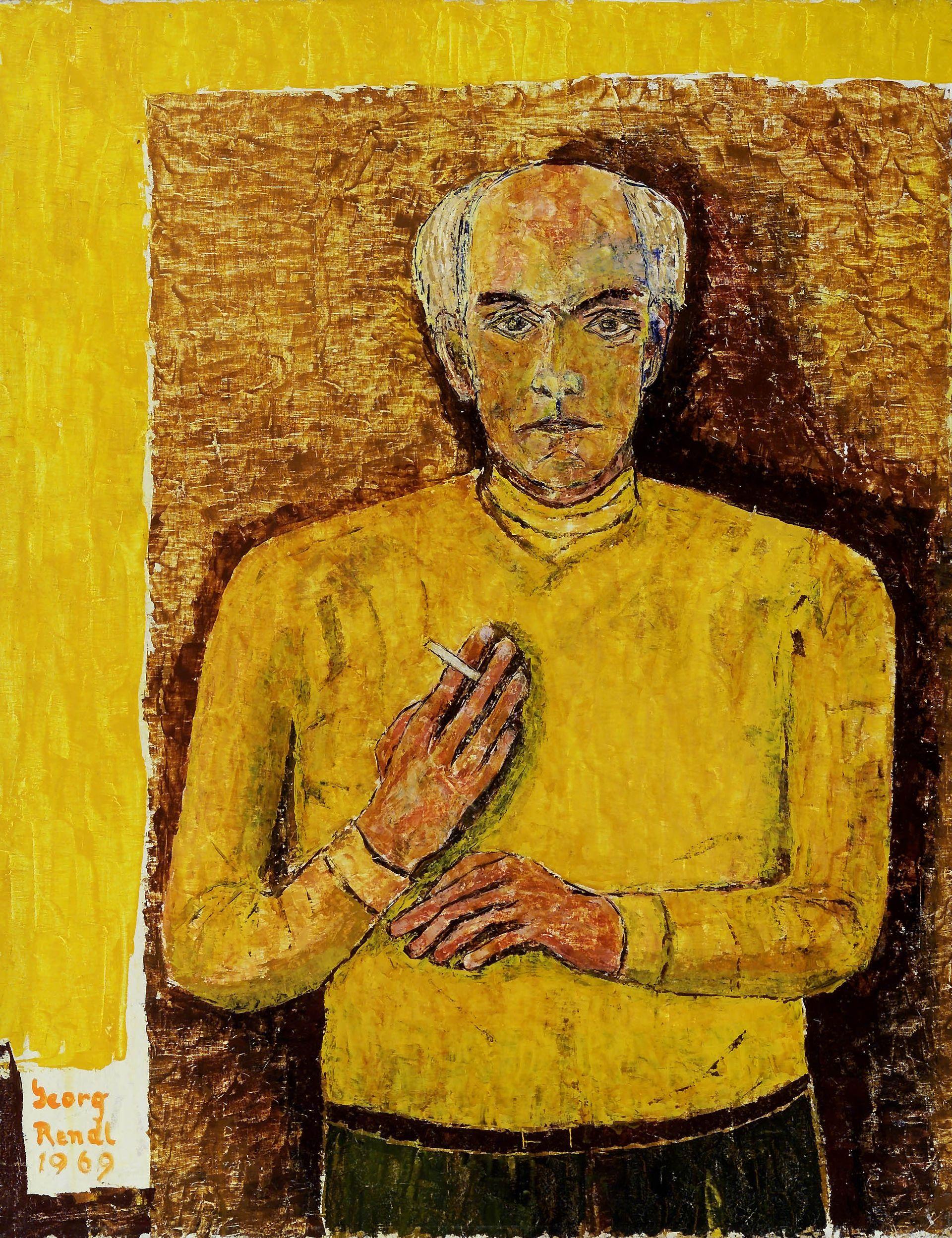 Gemälde: Selbstportrait mit Zigarette von Georg Rendl